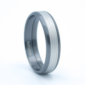 Bague Gustave Brossé Anthracite Cannelure